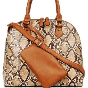 Snakeskin Top Handle Satchel Bag with small pouch